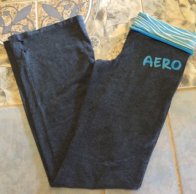 Aeropostale Gray And Aqua Blue Animal Printed Legging Pants Sz M #Aropostale #TrackSweatPants