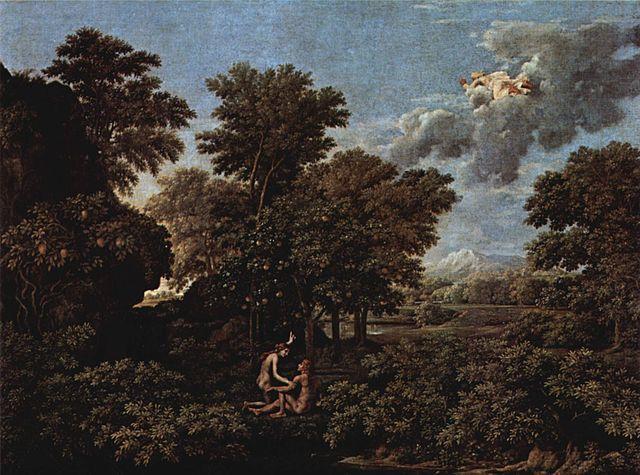 Paisaje Heroico La Primavera También Conocido Como Adán Y Eva En El Paraíso Terrenal De Nicolas Poussin 1660 Adan Y Eva Museo De Louvre óleo Sobre Lienzo