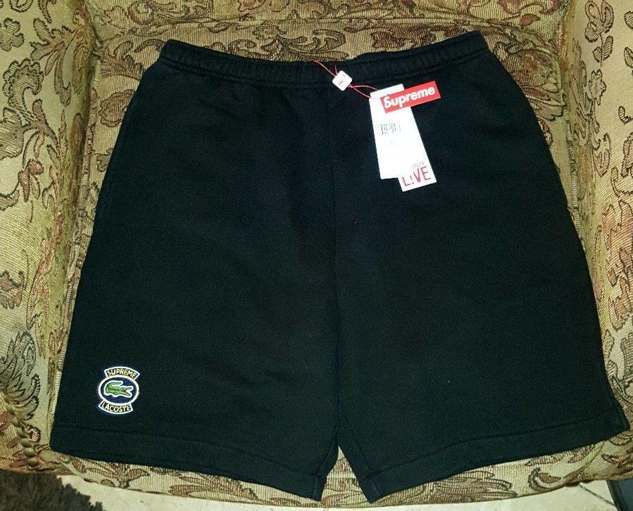 aad9d6c857ca4 Supreme Lacoste Sweatshorts shorts Black Medium SS18 In Hand  Supreme   Sweatshorts