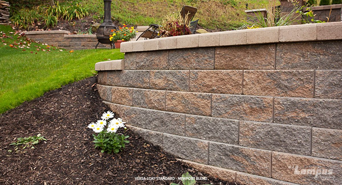 Versa Lok Standard Newport Blend Natural Stone Retaining Wall Available At Landscaping Retaining Walls Natural Stone Retaining Wall Garden Landscape Design