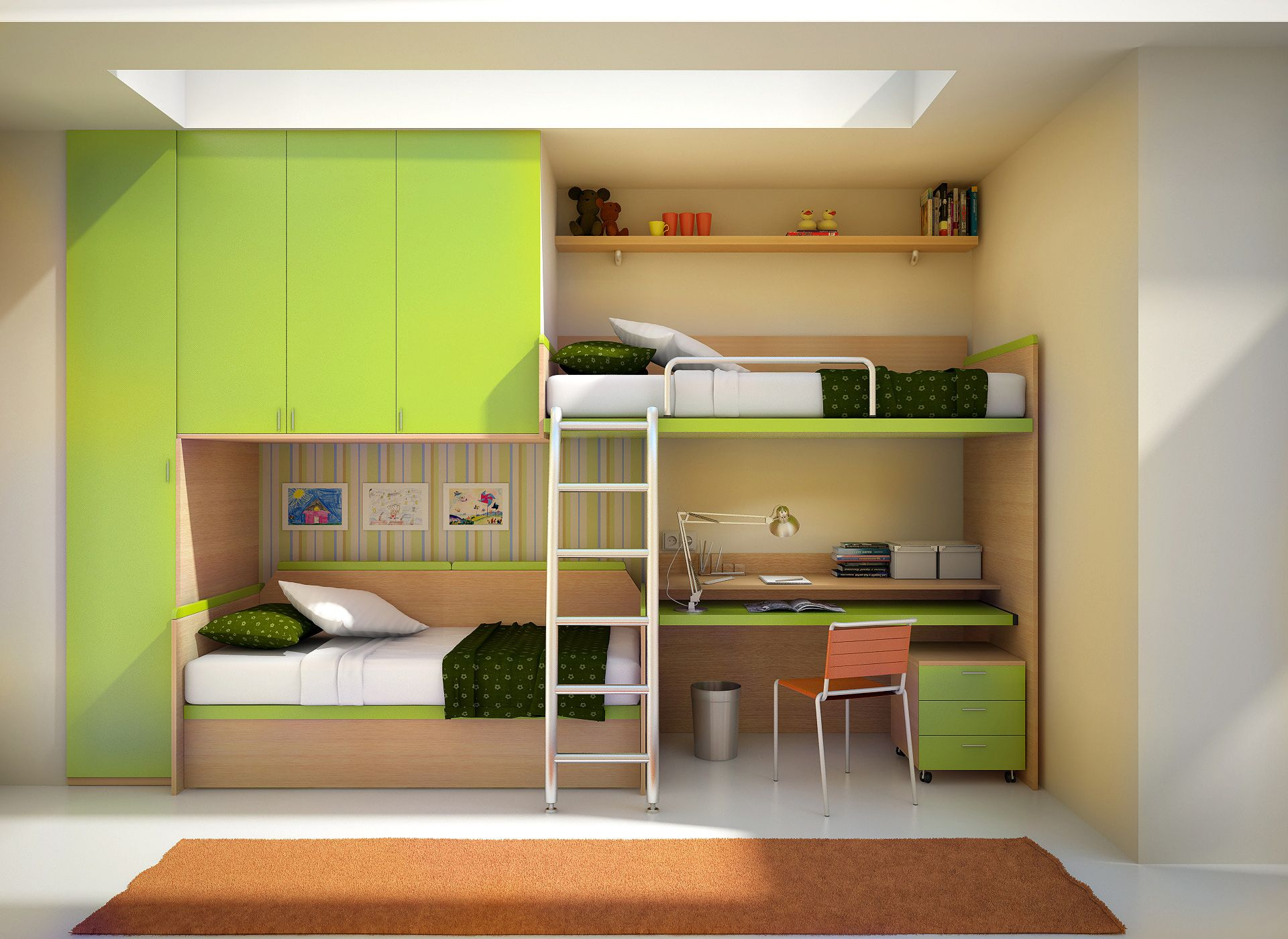 Cool bunk beds for 4 - Beliches Quarto Crian A Kids Bunk Beds3 4