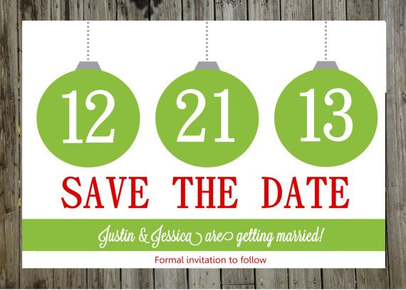 Save The Date Christmas Wedding Save the by ACharmingPrettyParty