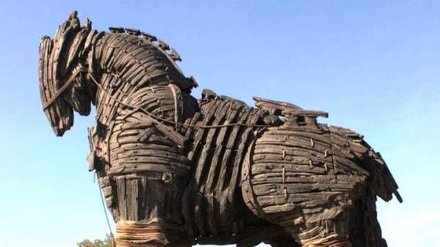 Ancient Greek Bronzed Trojan Horse Statue