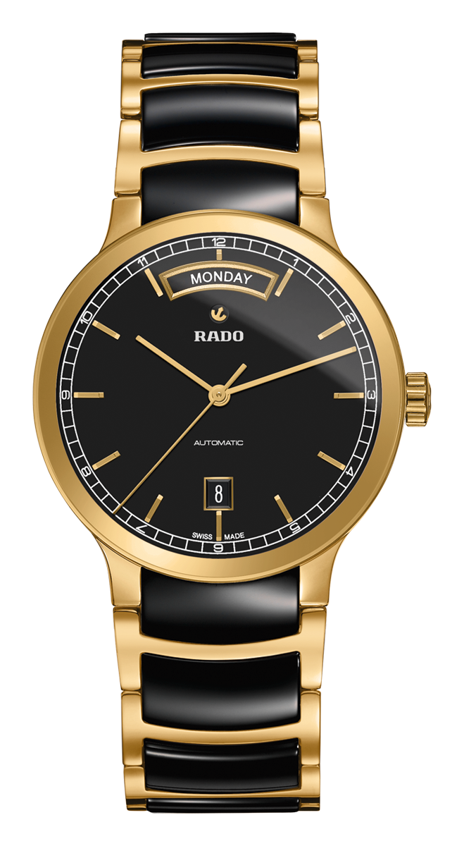 Rado Centrix Automatic Black High Tech Ceramic Yellow Gold Pvd Watch Made In Switzerland R301 Luxury Watches For Men Fashion Watches Womens Watches Luxury