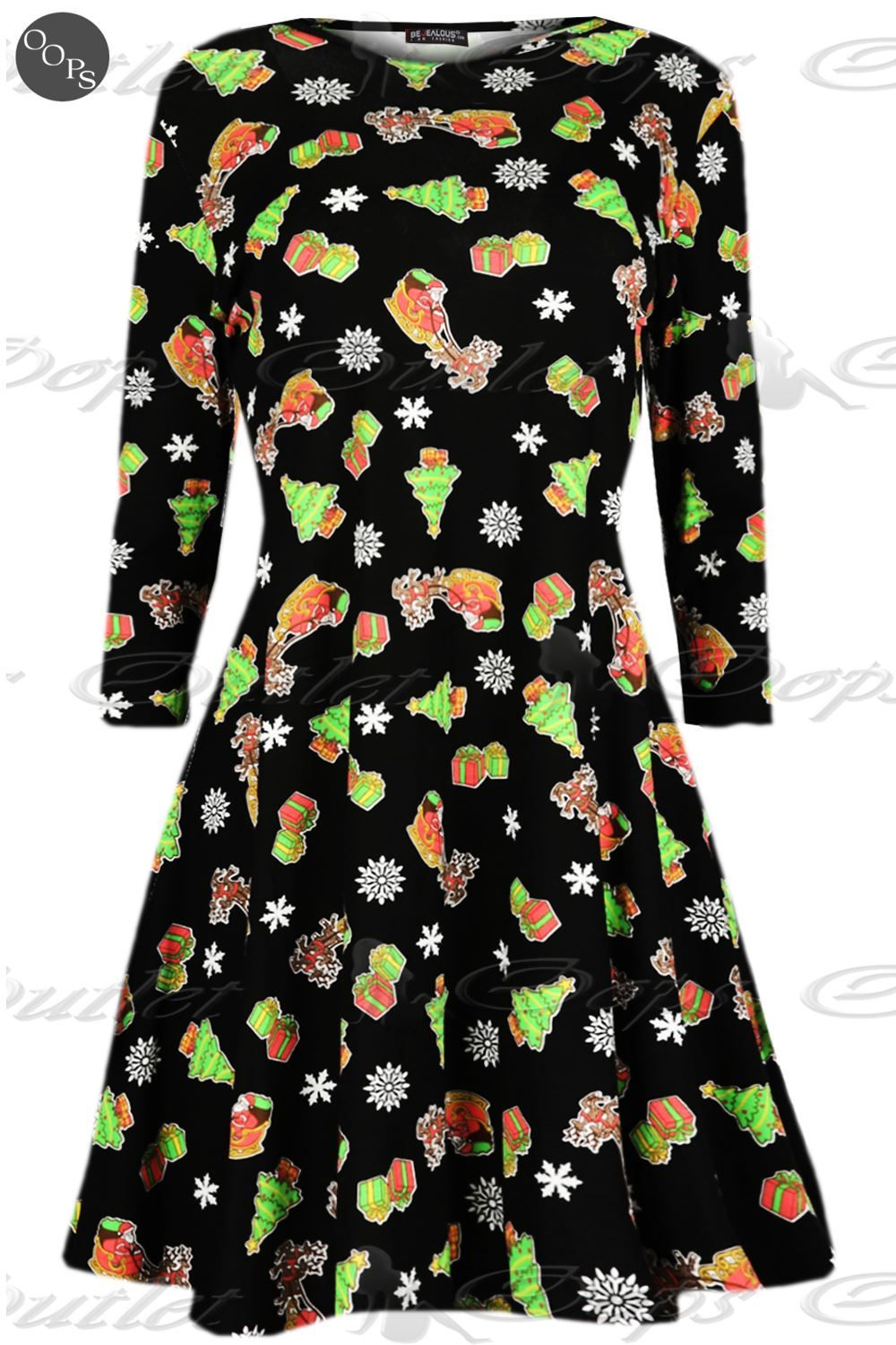 7effe922ea Womens-Ladies-Long-Sleeves-Xmas-Santa-Gifts-Snowman-Christmas-Print-Swing- Dress
