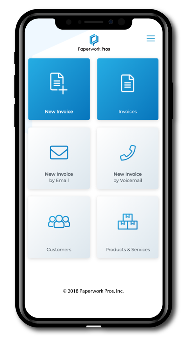 App Front Page on iPhone 10 Invoicing software