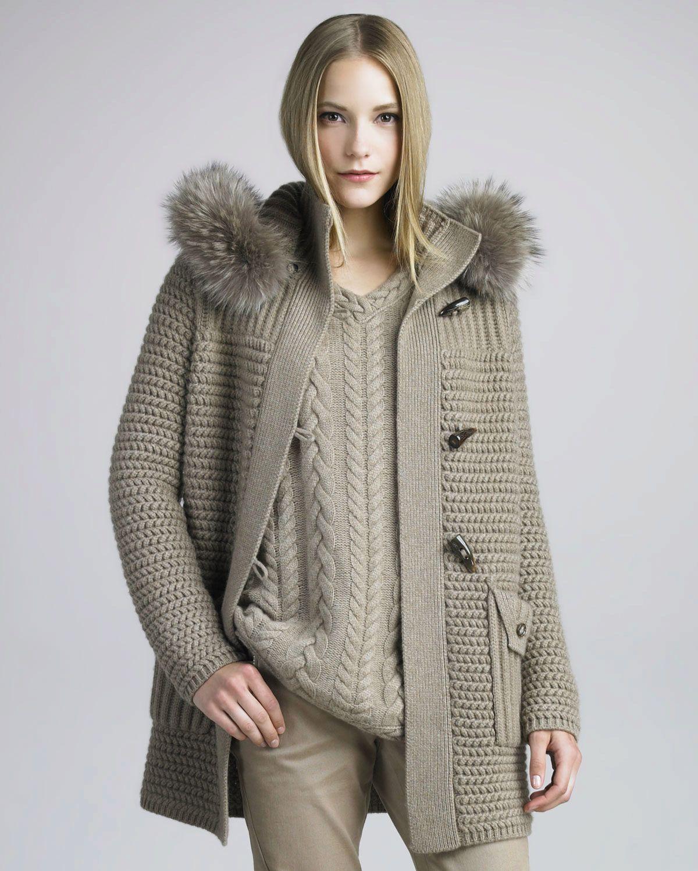 Вязаное пальто из толстой пряжи (110 фото) | Пальто с ...