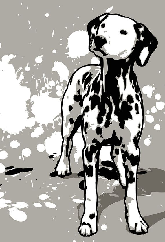 Dalmatian dog art print illustration in pop art colors of black white
