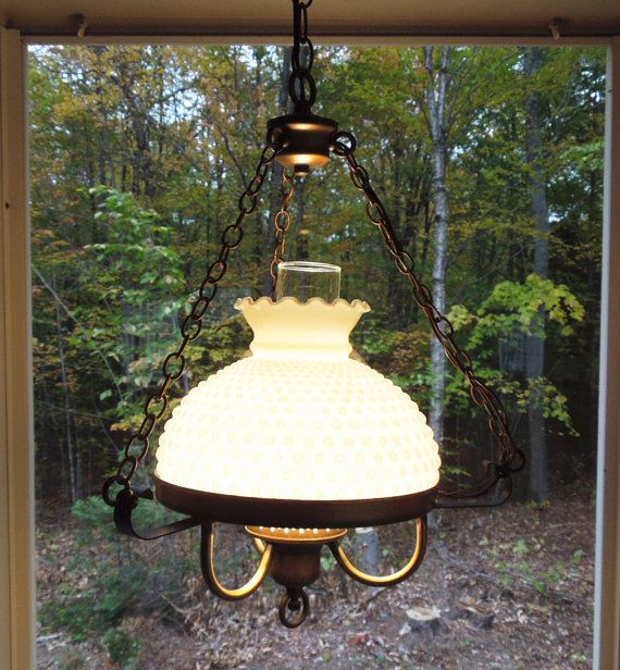 Vintage hobnail milk glass hanging lamp hobnail glass hanging hurricane lamp with antique brass hardware cottage chic decor