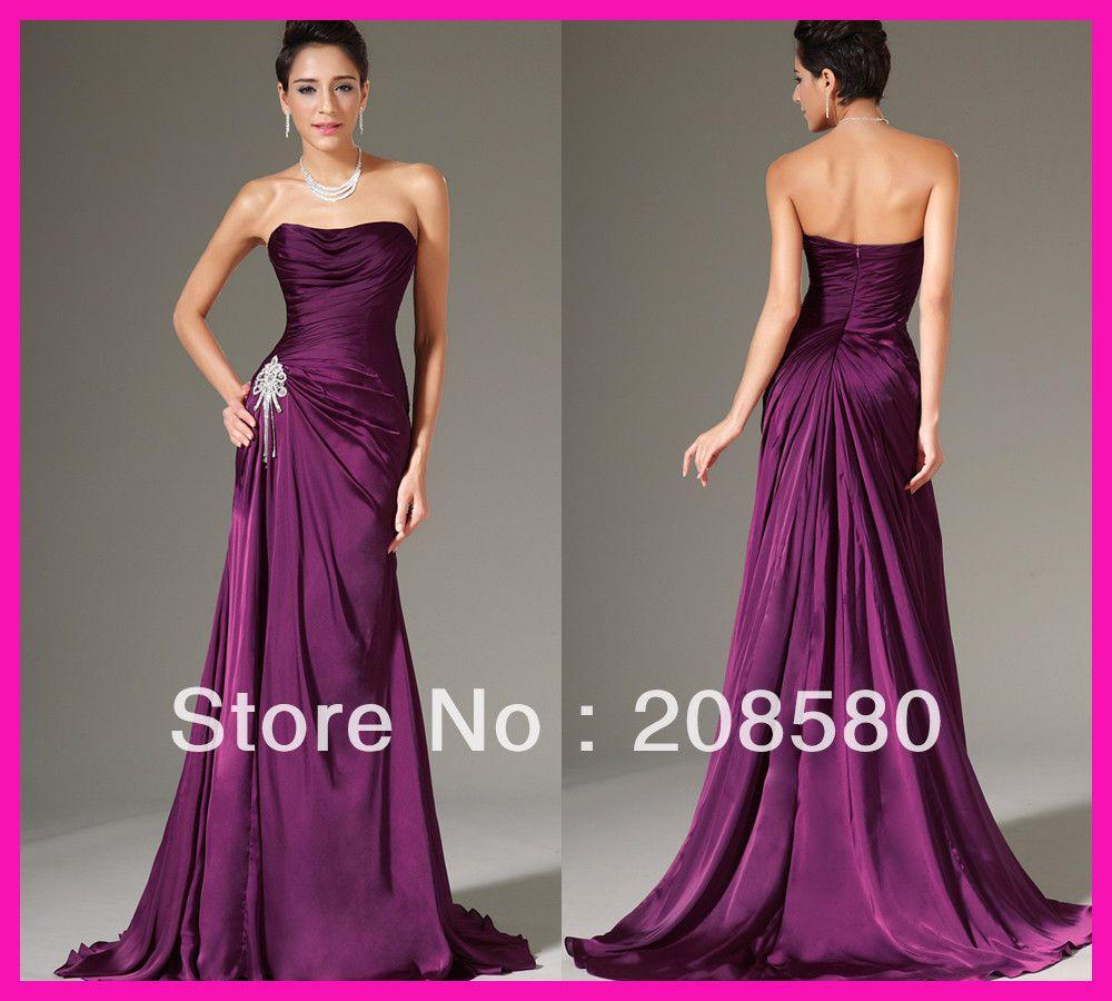 2014 New Fashion Purple Strapless Pleated Long Formal Bridesmaid Dresses Free Shipping B2163