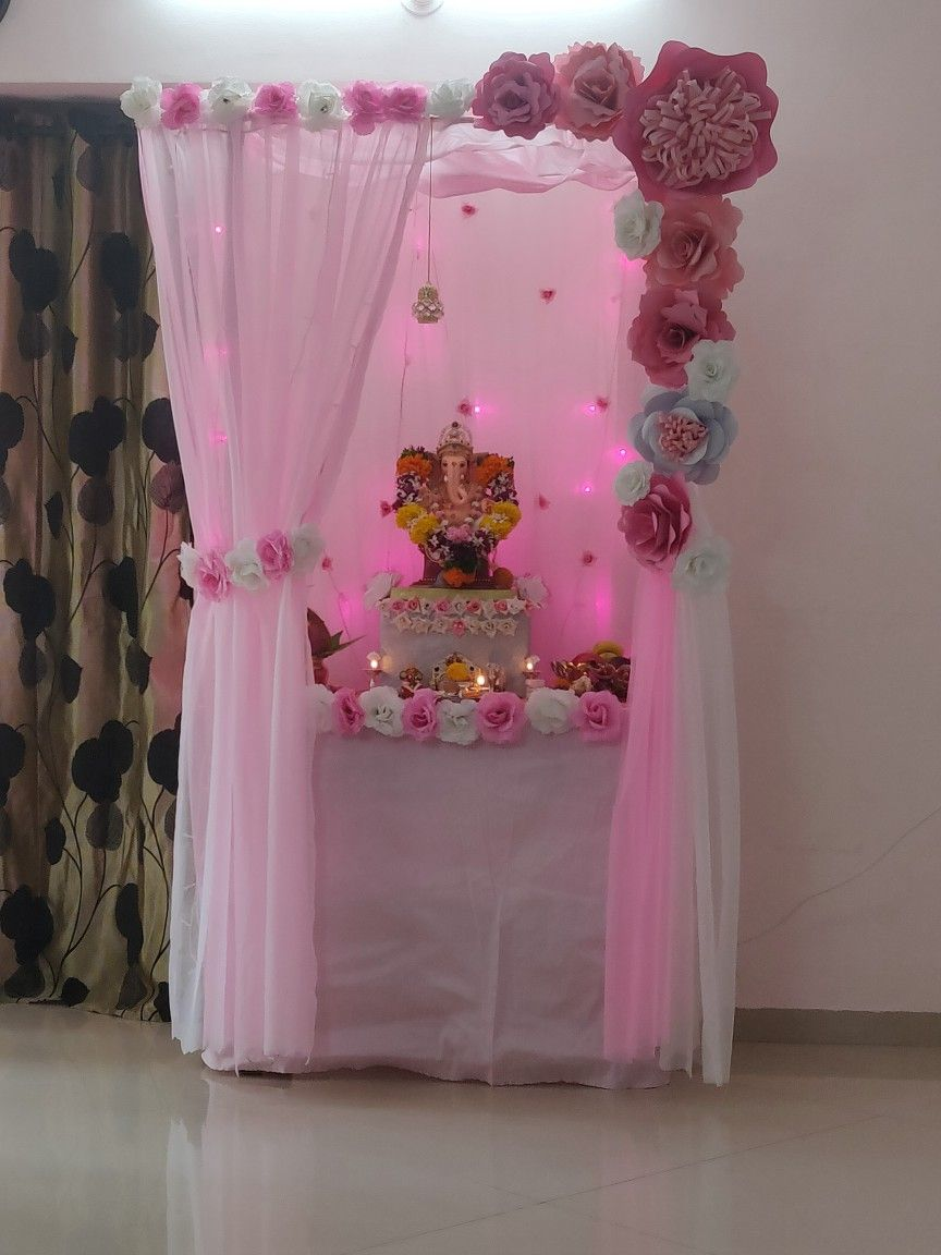 Ganpati Decorations By Paper Flowers And Curten Ganapati Decoration Paper Flowers Decor