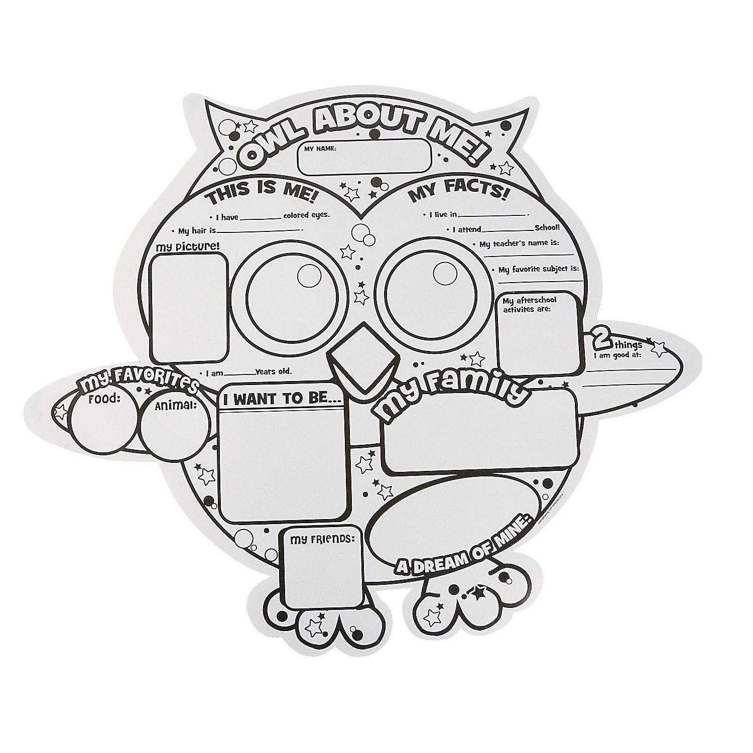 Color Your Own All About Me Owl Posters
