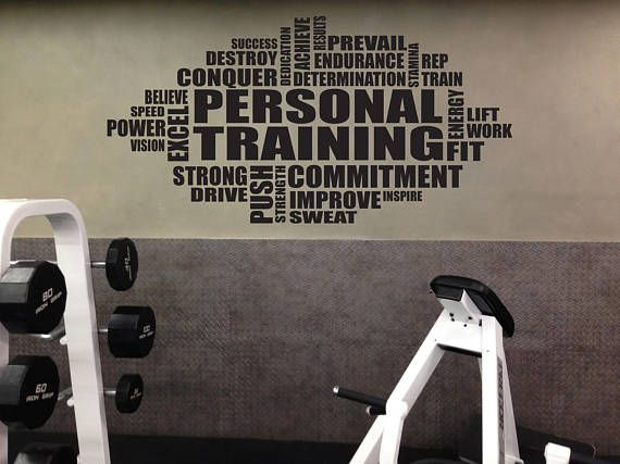 Personal training wall cloud decal gym sign trainer sign