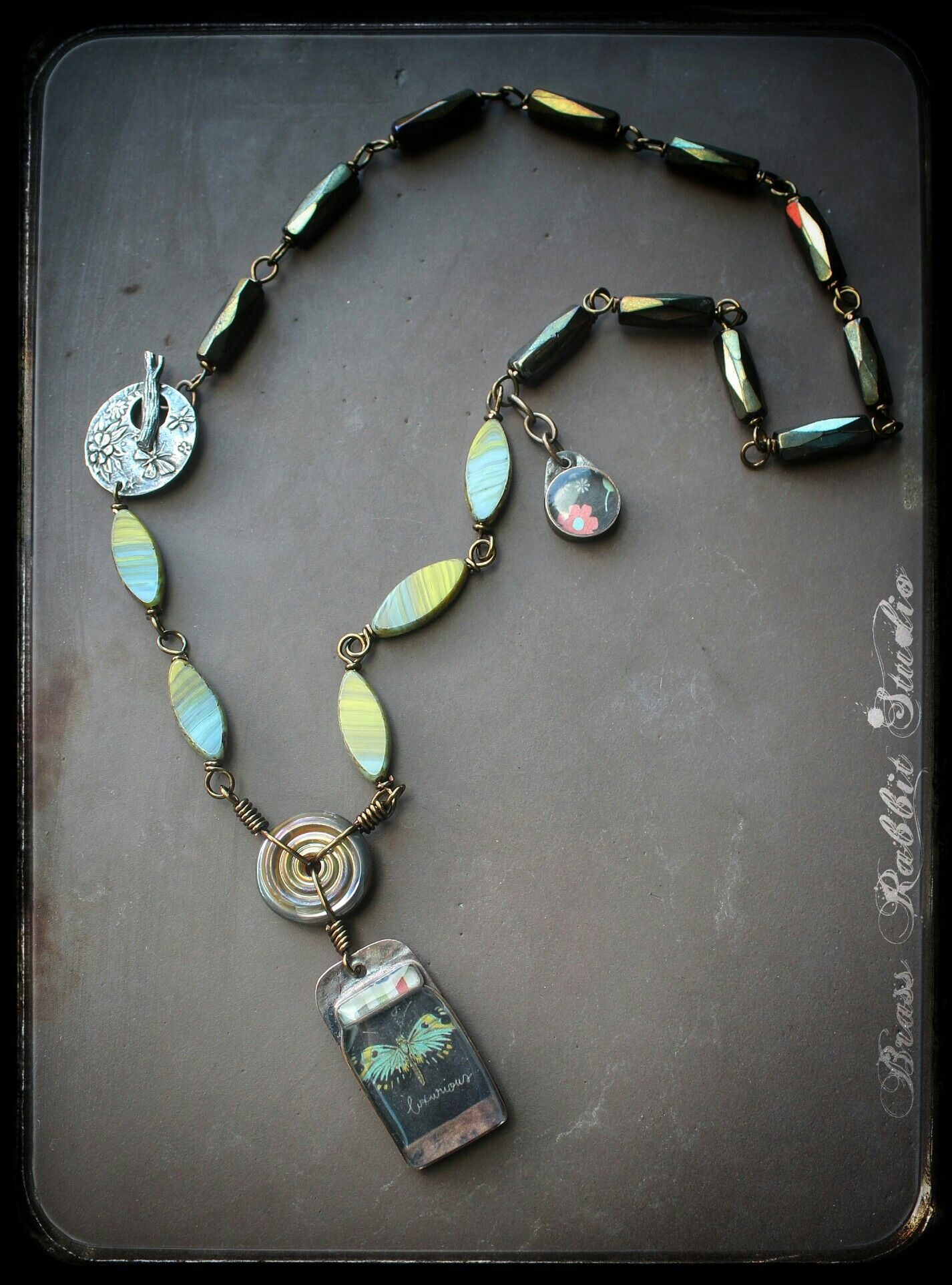 Wire wrapped resin pendant necklace, handmade, Summer Hunting ...