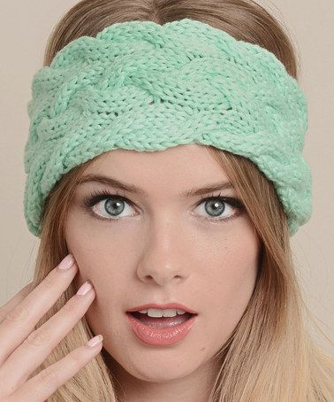 Another great find on #zulily! Teal Cable-Knit Head Wrap by Leto ...