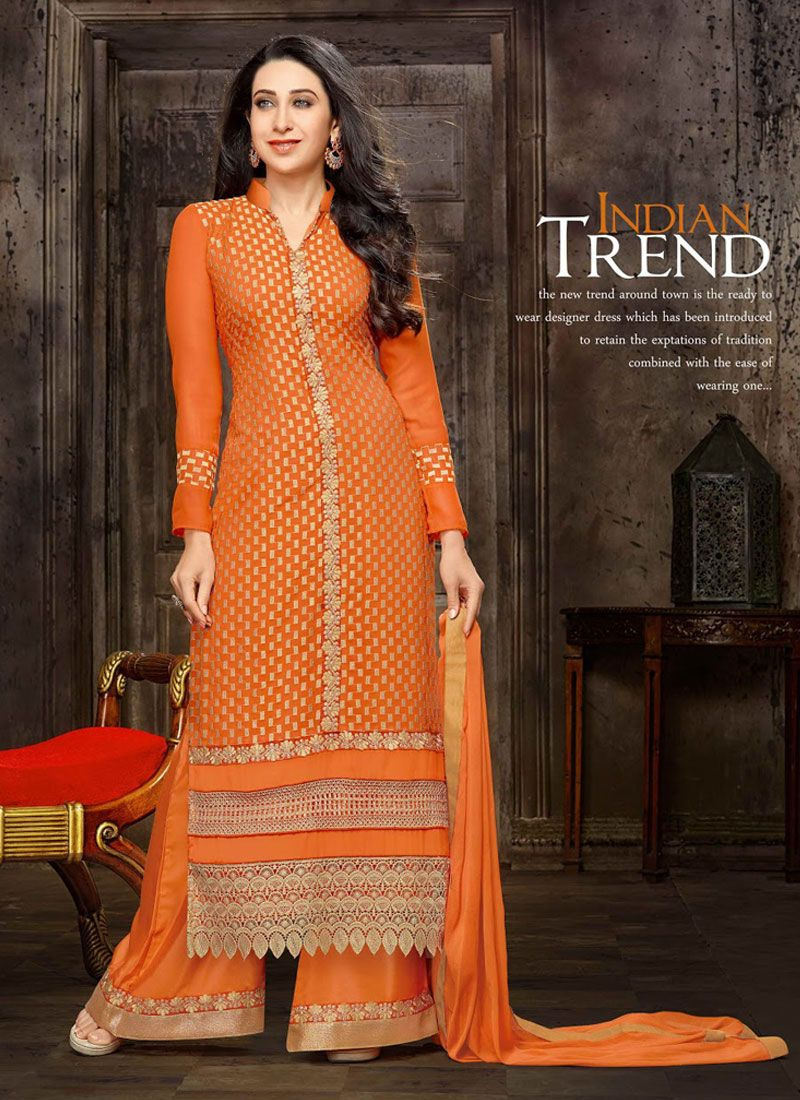 http://www.sareesaga.in/index.php?route=product/product&product_id=17709 Work:Embroidered Resham Work Style:Palazzo Suit Shipping Time:10 to 12 Days Occasion:Party Festival Fabric:Faux Georgette Colour:Orange For Inquiry Or Any Query Related To Product,  Contact :- +91 9825192886