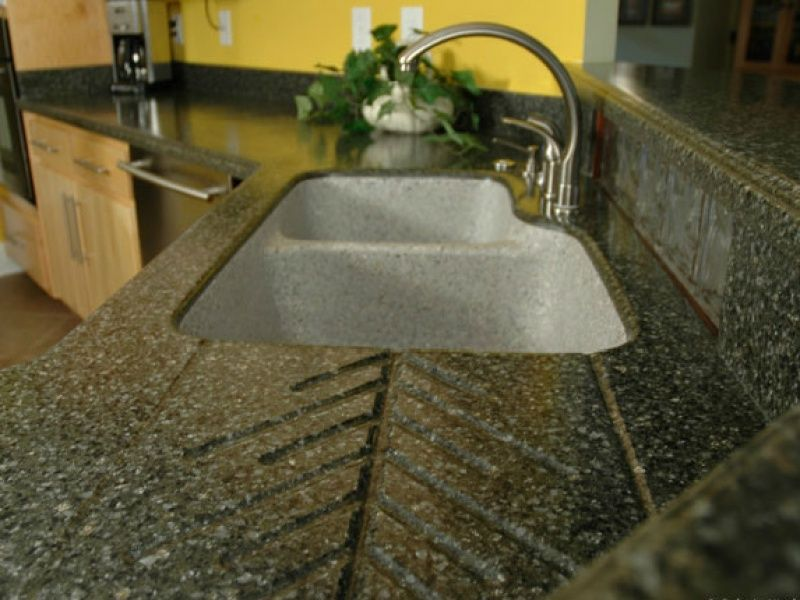 Solid Surface Kitchen Countertop With Molded Drainboard And Molded