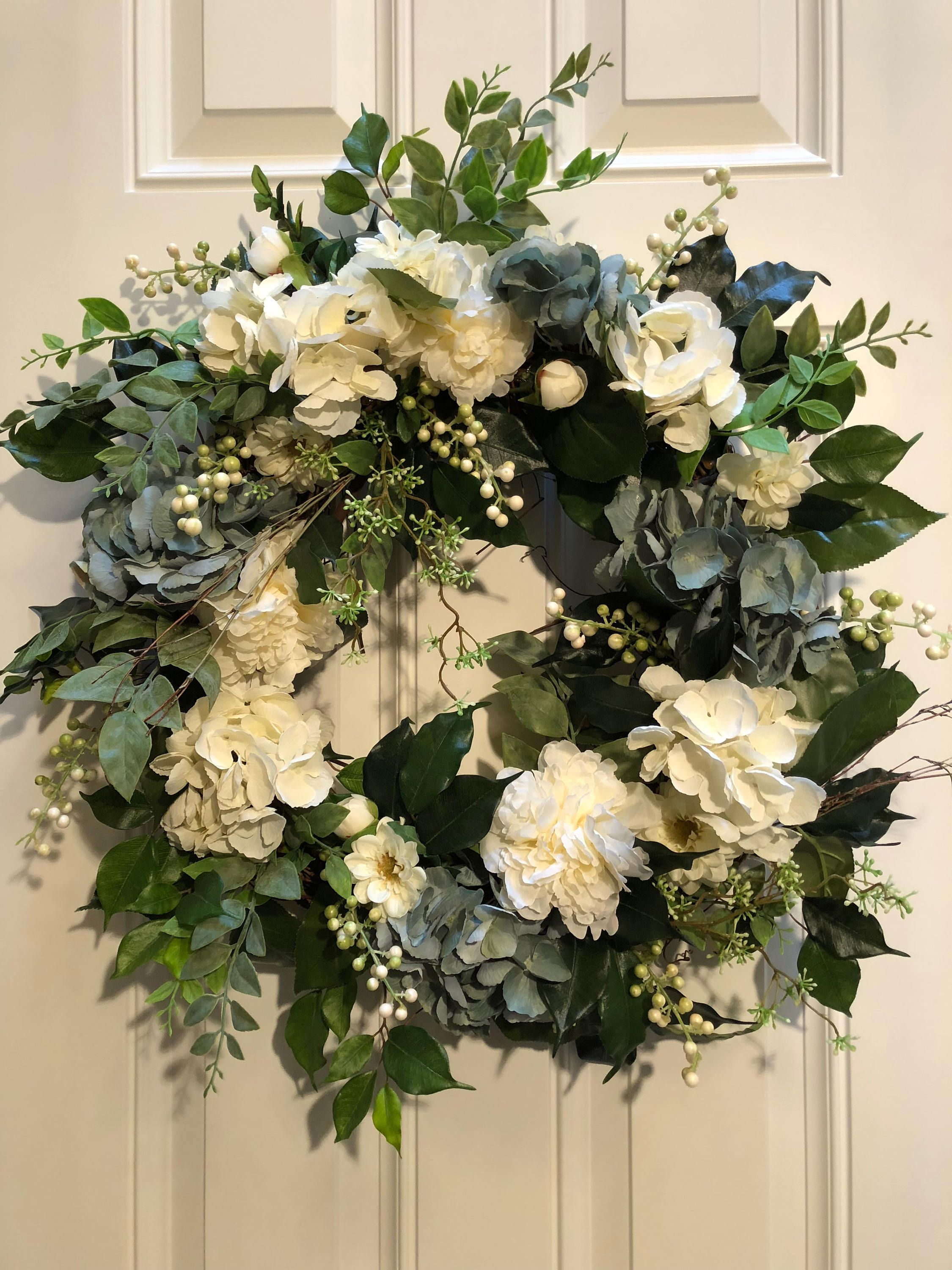 Front Door Wreath Spring Summer Artificial By Atriumdesigngroup On Etsy
