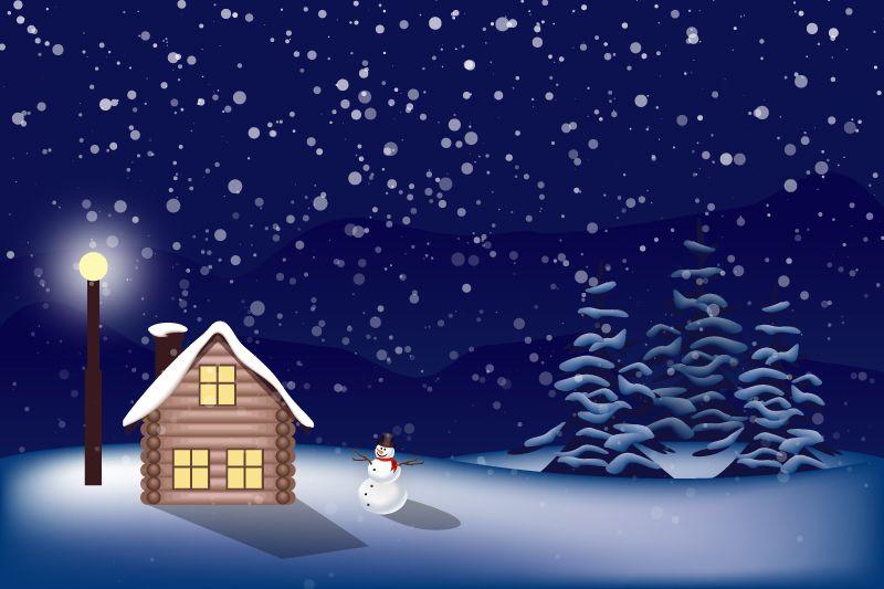 Cartoon Snowy Night Vector Free Vector Graphic Download Christmas Landscape Night Vector Christmas Wallpaper Backgrounds Background christmas cartoon wallpaper