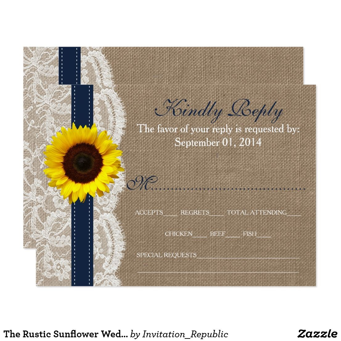 The Rustic Sunflower Wedding Collection Navy RSVP Card