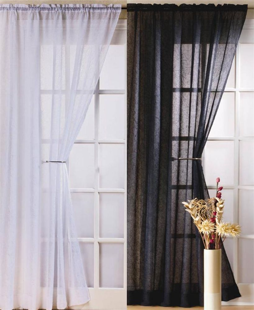 Black Voile Curtains Fiji Crushed Voile Curtain Panel Drops 48