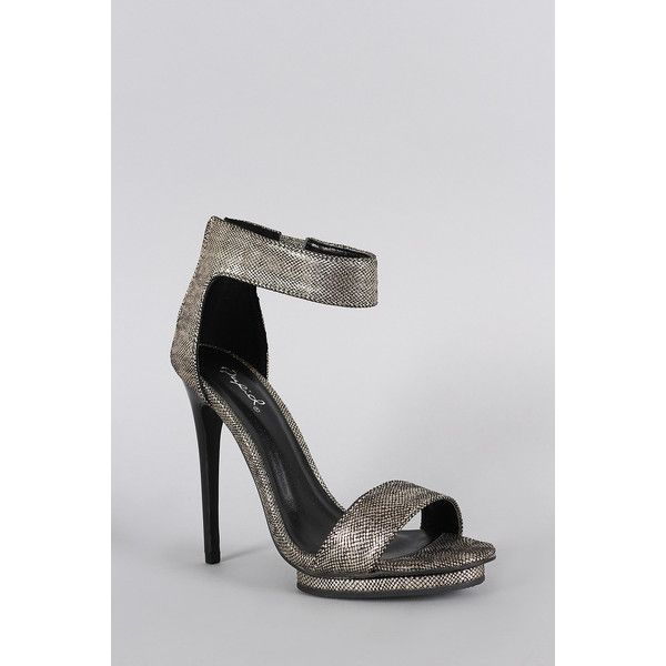 Qupid Lizard Metallic Open Toe Heel (105 BAM) ❤ liked on Polyvore featuring shoes, pumps, metallic shoes, open toe shoes, qupid shoes, lizard shoes and metallic pumps