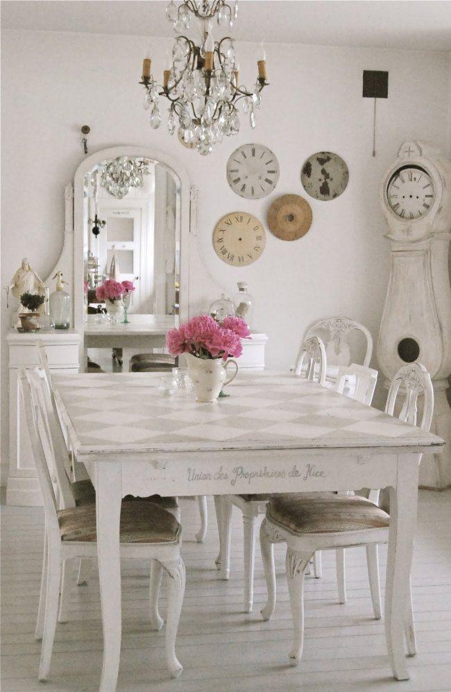 shabby chic den decor | shabby chic deko esszimmer vintage uhren ... - Vintage Einrichtung