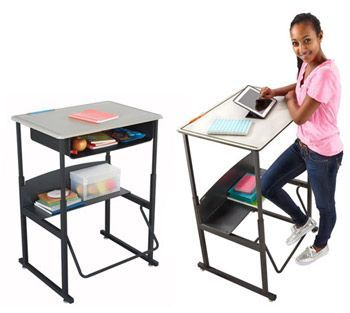 Alphabetter StandUp classroom student desk with swinging foot