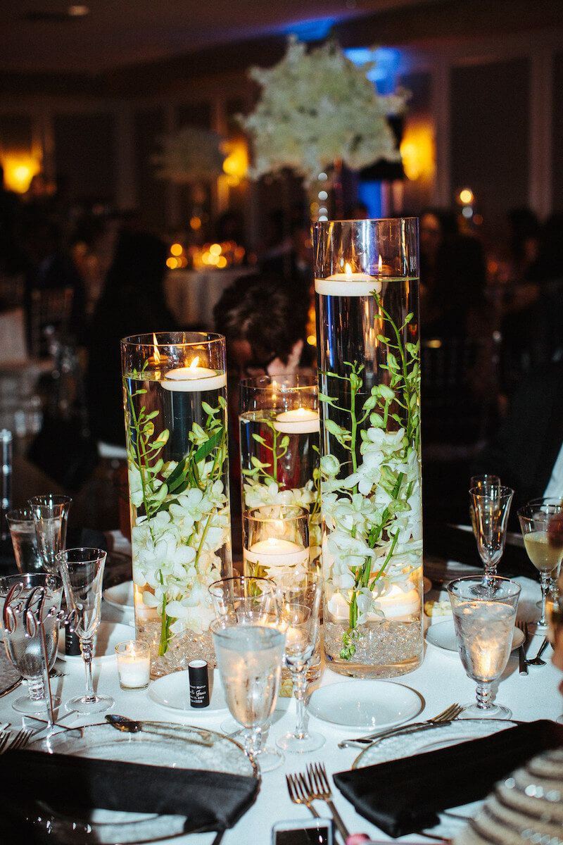 Romantic Florida Destination Wedding Centerpieces With Floating Candles And Wedding Table Centerpieces Cheap Wedding Table Centerpieces Wedding Candles Table