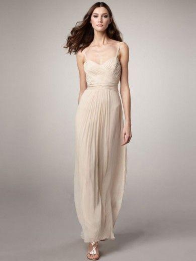 Sheath/Column Spaghetti Straps Sleeveless Ankle-length Ruched Chiffon Dress