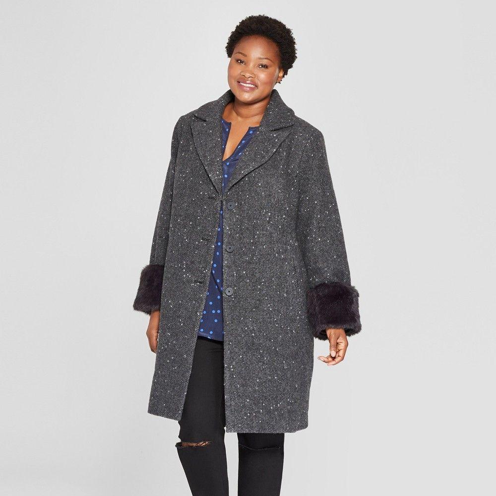 e2d8d1939d8 Women s Plus Size Single Breasted Coat - Ava   Viv Charcoal 1X
