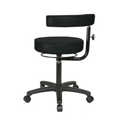 """Perch Chairs & Stools Height Adjustable Dental Stool with Procedure Arm Size: 39"""" H x 24"""" W x 24"""" D, Color: Black Fabric"""