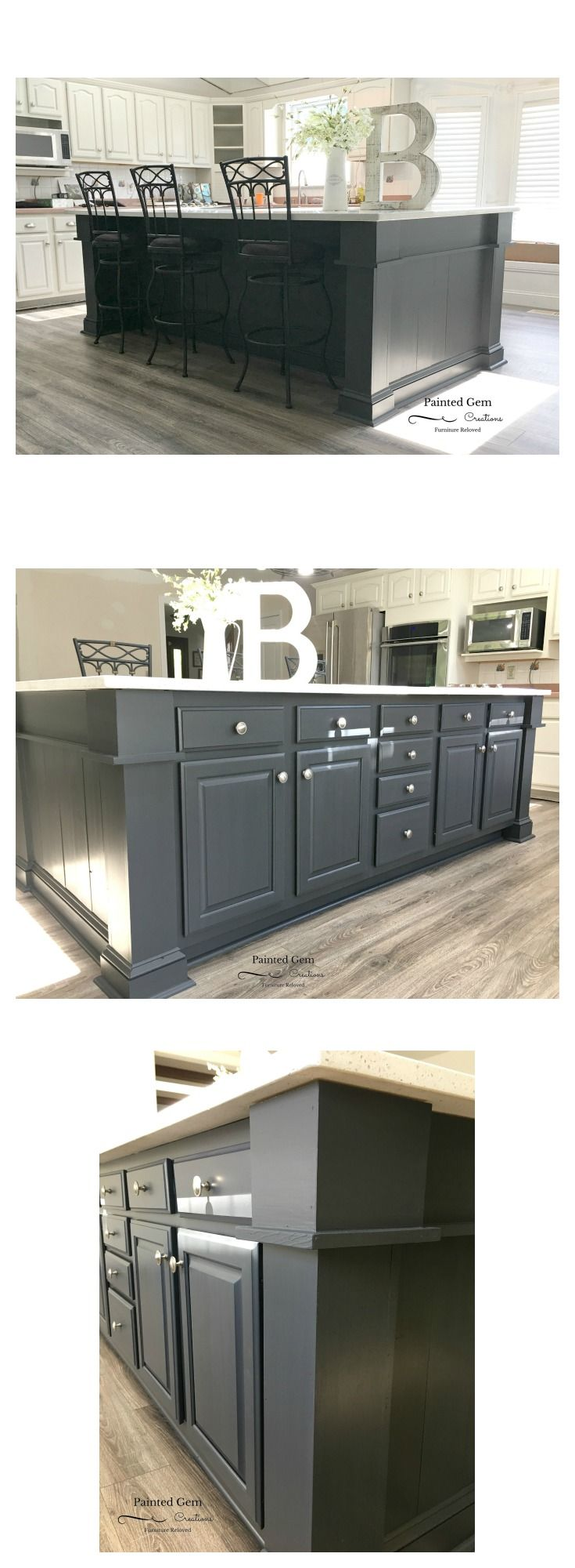Kitchen island reveal in Fusion Mineral Paint's Ash | Ash ...