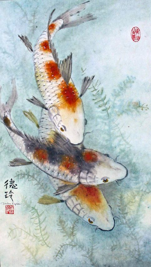 Darlene kaplan lazy swim sumie brushpainting ink and for Japanese koi fish artwork