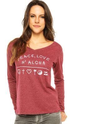 Camiseta Billabong Peace Love And Billa Vinho