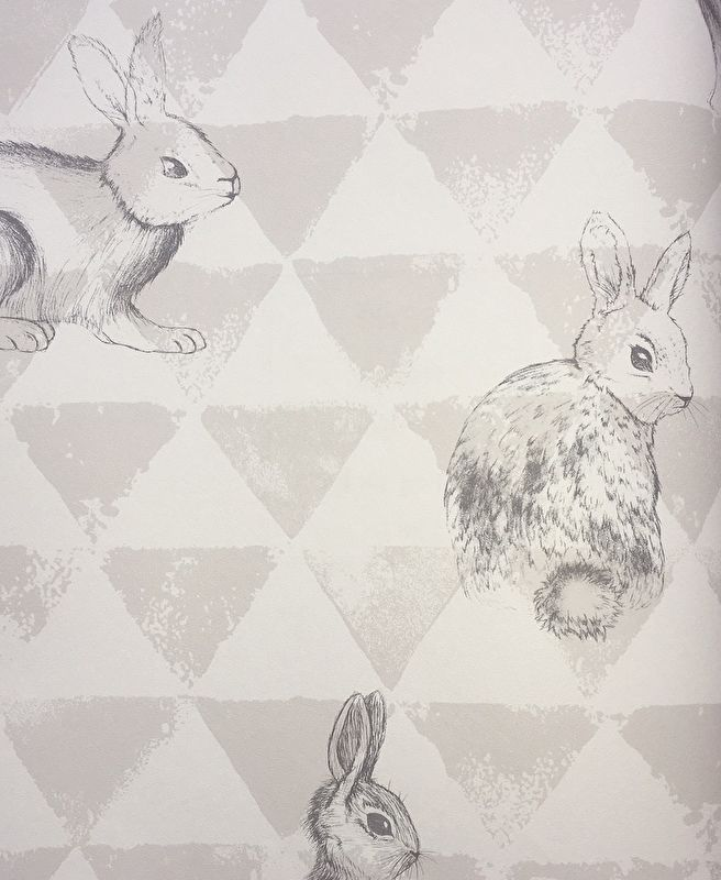 Onszelf Driehoekjesbehang met konijntjes grijs wit OZ 3269 Echt lief baby behang!