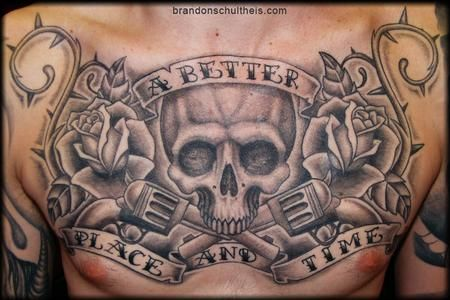 chest piece | ... Body Part Chest Tattoos for Men : Skull, Revolver and Roses Chestpiece