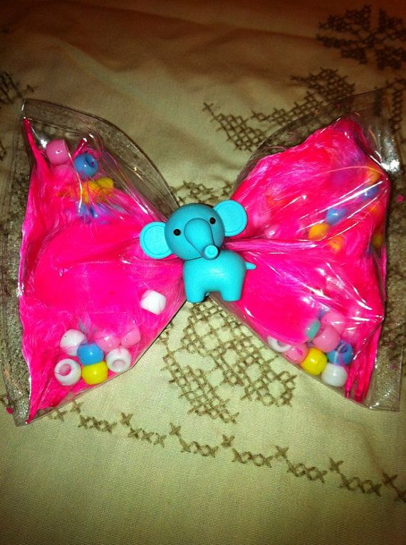 Blue Elephant Clear Vinyl Bow with Pink Feathers by TeacherPackRat, $3.00