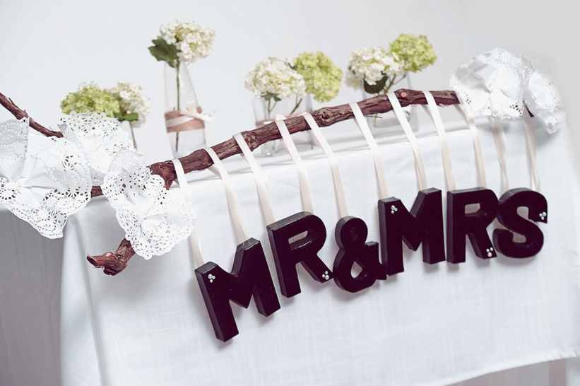 Diy wedding ideas mr mrs sign made using our mini paper mache letters alphabet paper mache alphabet wedding table decoration ideas make and craft magazine junglespirit Choice Image