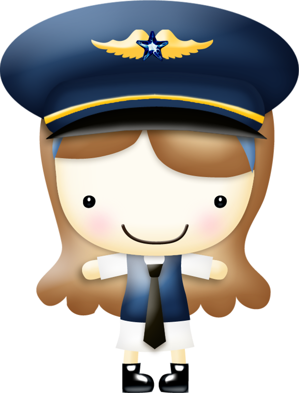 Brown haired airline pilot | Occupational Clipart ...