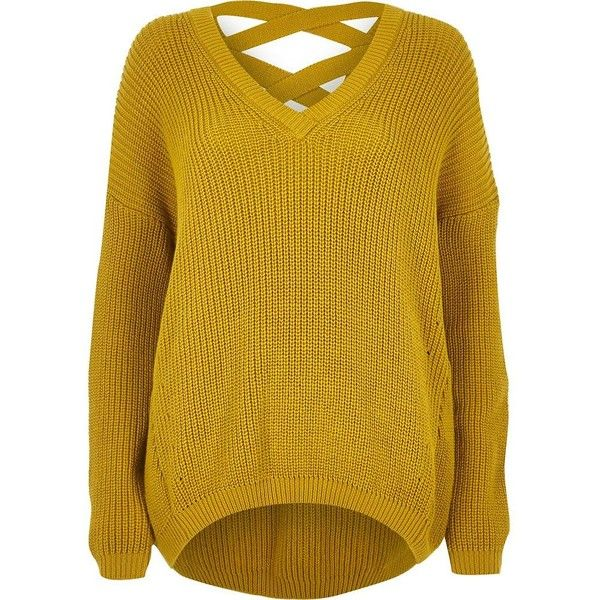 River Island Yellow Knit Cross Strap Sweater 72 Liked On Polyvore Featuring Tops Sweater Yellow Long Sleeve Tops Extra Long Sleeve Sweater Knitwear Women