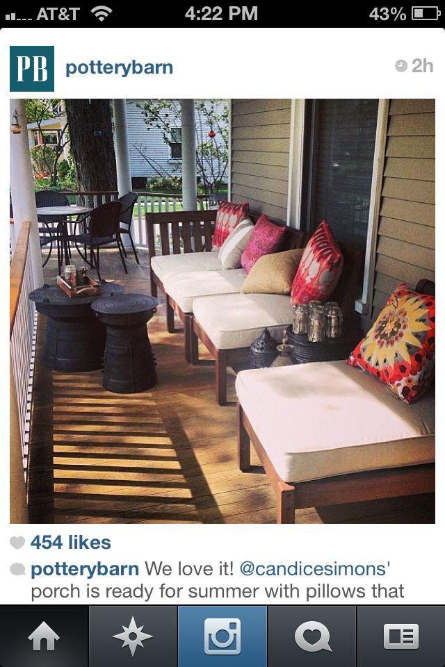 Bright Outdoor Cushions // Pottery Barn