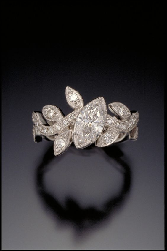 d09c9c9d4 Marquise Diamond Leaf and Vine Ring | A Girl's Best Friend... in ...