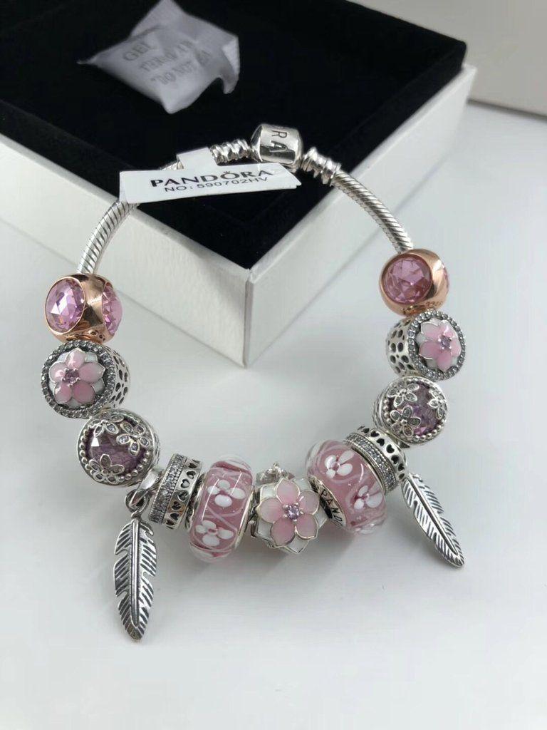Pandora Pink Flower 12 Pcs Charm Bracelet Pandora