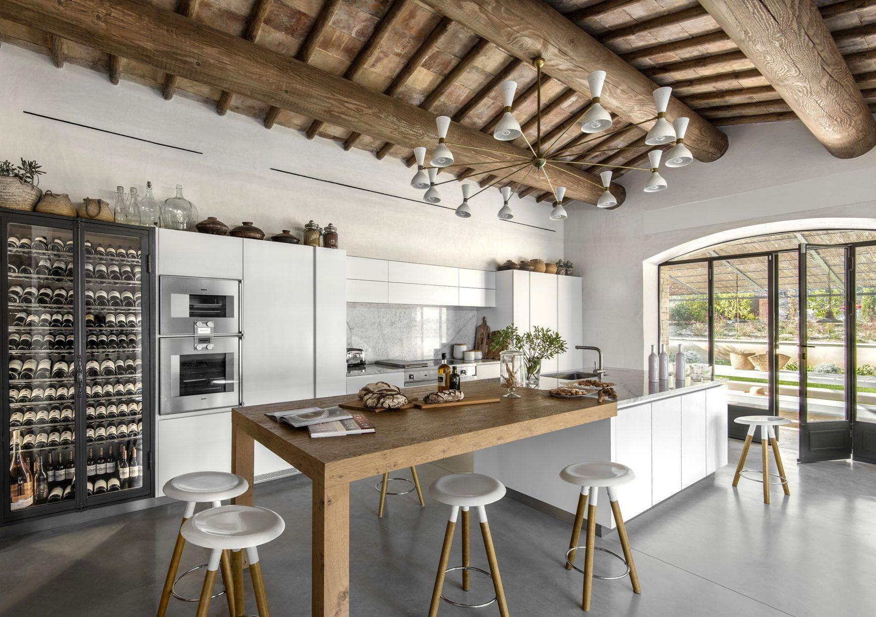 Cuisine Blanche Avec Ilot Central Bois Kitchen Atelier Kitchen