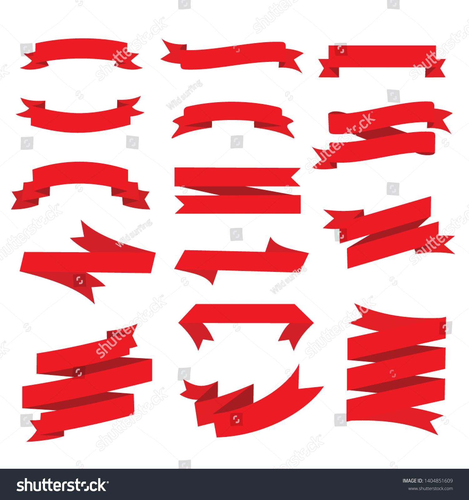 D Lassic Ribbons Flat Vector Ribbons Banners Flat Isolated On White Background Illustration Set Of Red Tape Spons Ribbon Banner Graphic Illustration Banner