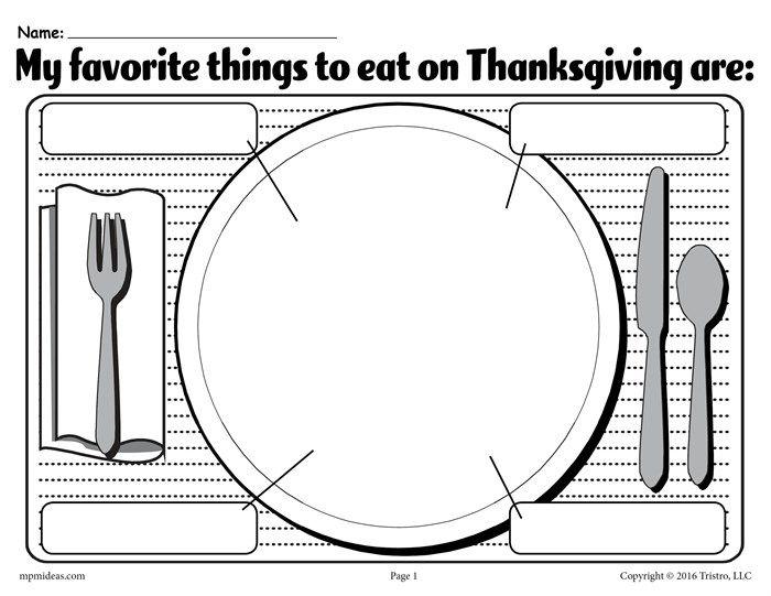 My Favorite Things To Eat On Thanksgiving Free Printable Worksheet