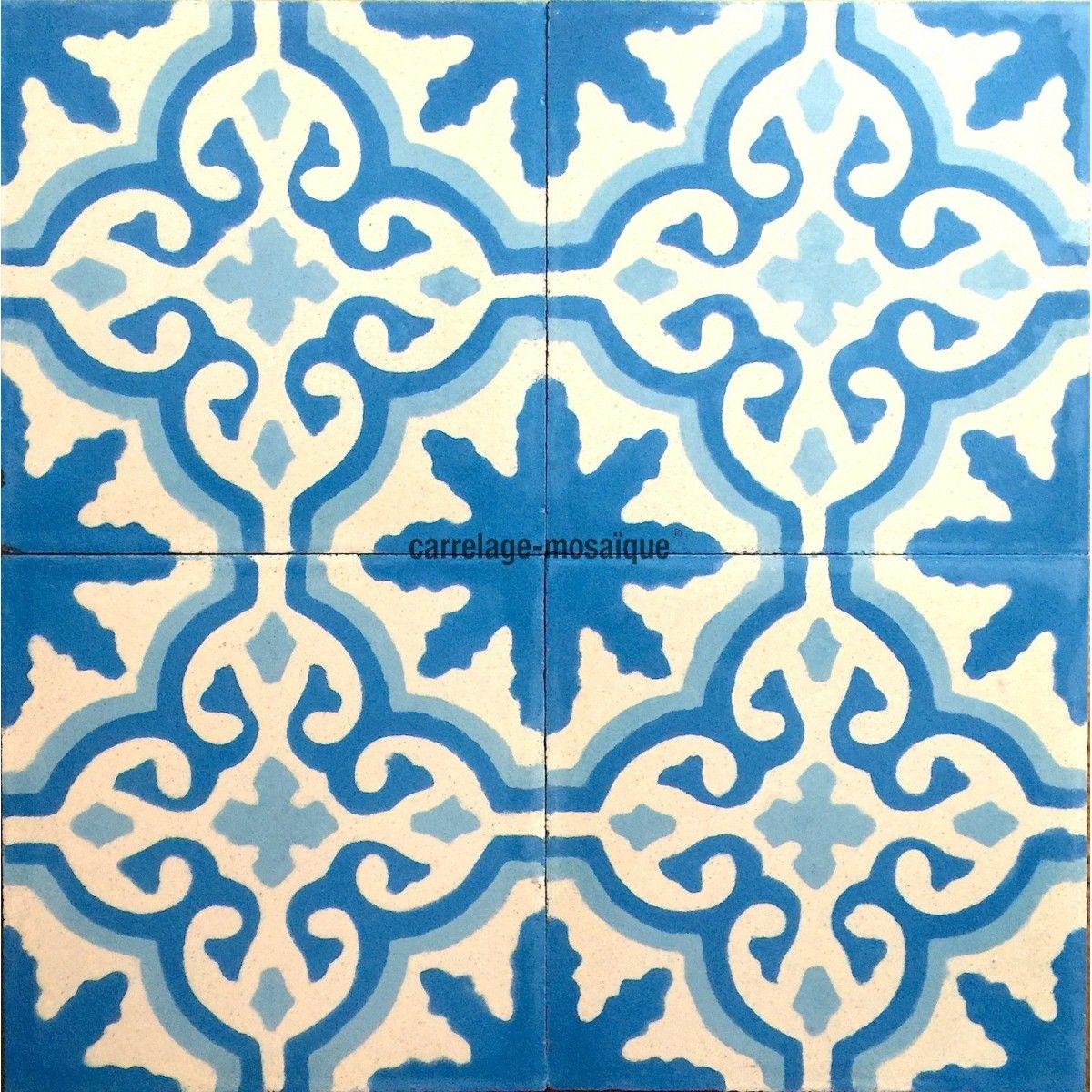 Carreaux En Ciment 1m Modele Flore Bleu Carrelage Mosaique