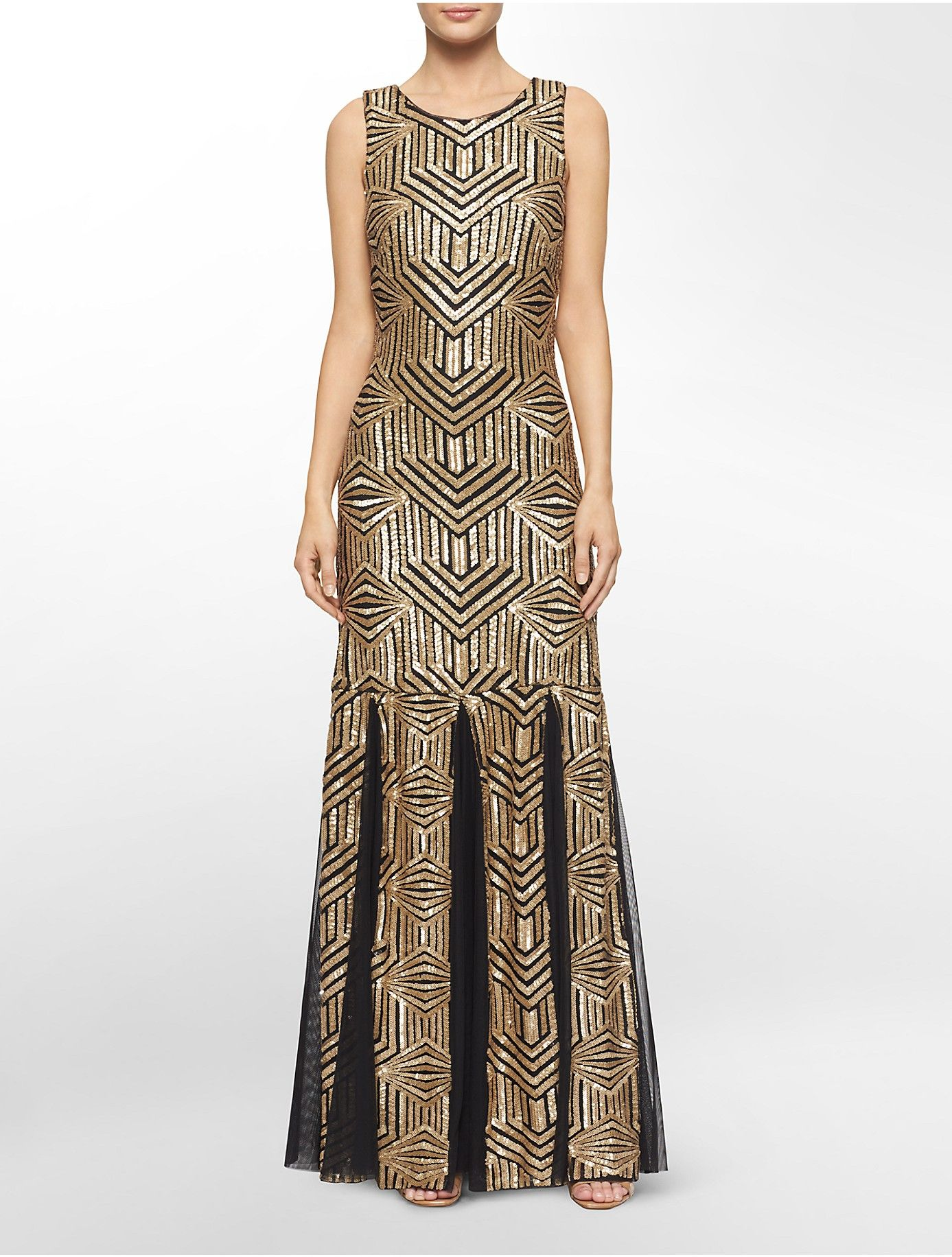 Calvin Klein Art Deco Geometric Gold Black Floor Length Dress With Ets Sequin Gown
