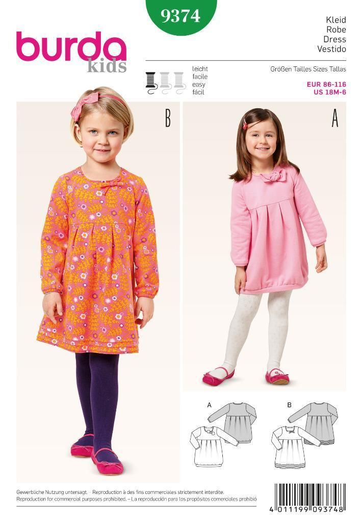 Burda Sewing Pattern Kids Drerss For Jersey Sweatshirt Fabric 18M ...